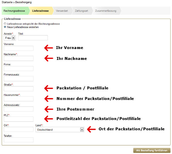 Angabe der Adresse der Packstation im Bestellverlauf - 2. Schritt
